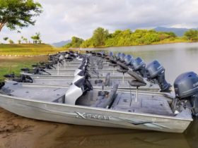 Mexico fishing lodge with bass boats that have updated trolling motors and Lowrance finders