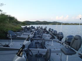 New Xpress bass boats on Lake Picachos in Mexico